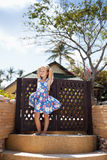 Adorable little girl at tropical  beach Royalty Free Stock Photos