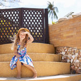 Adorable little girl at tropical  beach Royalty Free Stock Photography