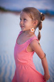 Adorable little girl on tropical beach vacation in Stock Photo