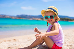 Adorable little girl at tropical beach during Royalty Free Stock Photo