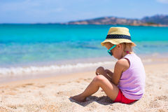 Adorable little girl at tropical beach during Royalty Free Stock Image