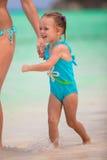 Adorable little girl during tropical beach Stock Photo