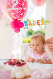 Adorable Little Girl Waiting for Her Cake Royalty Free Stock Photo