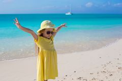 Adorable little girl walking at white tropical Royalty Free Stock Image