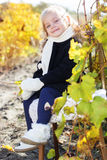Adorable little girl in warm clothes, autumn time. Adorable happy little girl with is wearing winter clothes and sitting on the chair with autumn leaves on the Stock Images