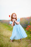 Adorable little girl on warm and sunny summer day stock images