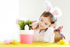 Adorable little girl wearing bunny ears on Easter Royalty Free Stock Image