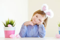 Adorable little girl wearing bunny ears on Easter Royalty Free Stock Photo