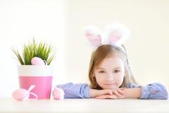 Adorable little girl wearing bunny ears Stock Photography