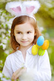 Adorable little girl wearing bunny ears on Easter Royalty Free Stock Photos