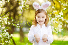 Adorable little girl wearing bunny ears on Easter Royalty Free Stock Images