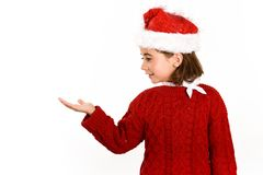 Adorable little girl wearing santa hat isolated on white backgro Royalty Free Stock Photography