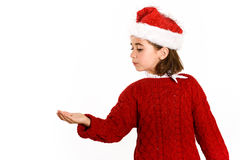 Adorable little girl wearing santa hat isolated on white backgro Royalty Free Stock Photos