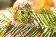 Close-up portrait of adorable little girl at the tropical resort, hiding behind the palm at the sunny summer day royalty free stock photo