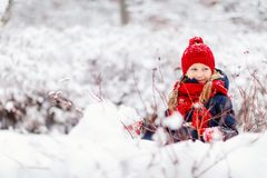 Little girl outdoors on winter. Adorable little girl wearing warm clothes outdoors on beautiful winter snow day Stock Images