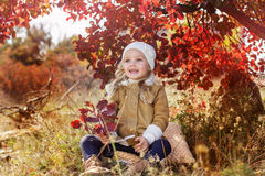 Adorable little girl is wearing winter clothes. Adorable little girl is wearing winter coat and hat with autumn leaves on the nature Stock Photography