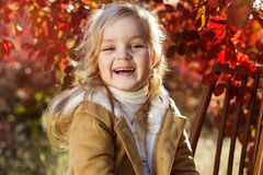 Adorable little girl is wearing winter clothes. Adorable happy little smiling blonde girl is wearing winter clothes is sitting on the chair with autumn leaves on Royalty Free Stock Image