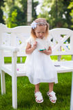 Adorable little girl at a wedding ceremony Stock Photography