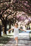 Adorable little girl in white dress in blooming pink garden on beautiful spring day. Adorable little girl in white dress runs in blooming pink garden on stock images