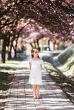 Adorable little girl in white dress in blooming pink garden on beautiful spring day. Adorable little girl in white dress stands in blooming pink garden on stock photos