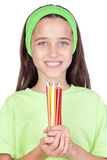 Adorable Little Girl With Many Colored Pencils Royalty Free Stock Photos
