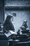 Adorable Little Girl, Writing Letter To Santa, Sitting On A Wind Royalty Free Stock Images