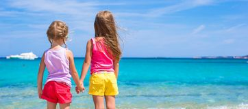 Adorable little girls at beach during summer Royalty Free Stock Photo