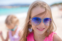 Adorable little girls at beach during summer Stock Photography