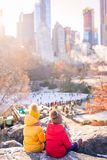 Adorable little girls in Central Park at New York City stock photography