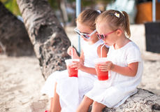 Adorable little girls drinking fresh watermelon on Stock Photos