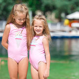 Adorable little girls having fun during beach Royalty Free Stock Image