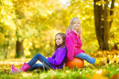 Adorable little girls having fun on a pumpkin patch on beautiful autumn day royalty free stock photo
