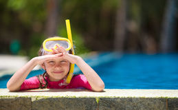 Adorable little girls at mask and goggles in Royalty Free Stock Photography