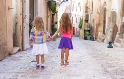 Adorable little girls outdoors in European city Royalty Free Stock Images