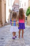 Adorable little girls outdoors in European city Royalty Free Stock Photography