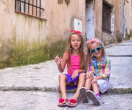 Adorable little girls outdoors in European city Royalty Free Stock Image