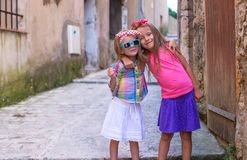 Adorable little girls outdoors in European city Stock Photography