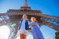 Adorable little girls in Paris background the Eiffel tower Royalty Free Stock Photo
