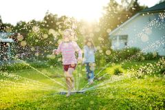 Adorable little girls playing with a sprinkler in a backyard on sunny summer day. Cute children having fun with water outdoors stock photos