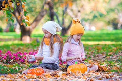 Adorable little girls with pumpkins outdoors at Stock Photo