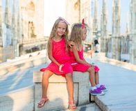 Adorable little girls on the rooftop of Duomo Stock Images