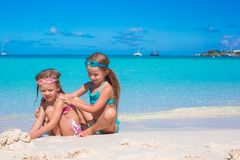 Adorable little girls in swimsuit and glasses for Royalty Free Stock Photos