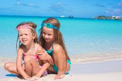Adorable little girls in swimsuit and glasses for Stock Image