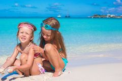 Adorable little girls in swimsuit and glasses for Royalty Free Stock Images