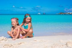 Adorable little girls in swimsuit and glasses for Stock Images