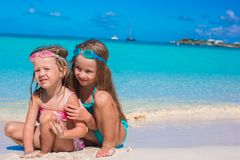 Adorable little girls in swimsuit and glasses for Royalty Free Stock Image