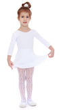 Adorable little gymnast. Cute little gymnast little, sport, white dress - Isolated on white background royalty free stock image