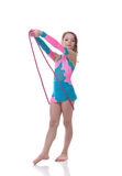 Adorable little gymnast posing with skipping rope Royalty Free Stock Photos