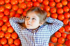 Adorable little kid boy with mandarin oranges background. Happy smiling child having fun with lot of fruits. Healthy royalty free stock photos