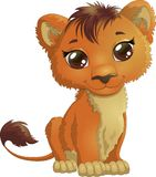 Adorable little lion with big brown eyes stock illustration